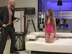 Brutal big guy fucks pain in the neck hole of slender babe Veronica Clark