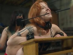 Nice ass redhead moans during rough pussy poking and spanking