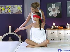 Erotic lesbian coition during a massage with Asian pornstar Pussykat