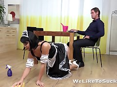 Naughty girl in sexy gal uniform Katy is fucked unchanging in pussy and mouth