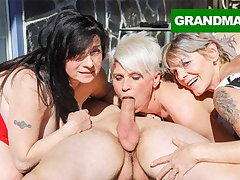 Three Hungry Grannies Attain Up a Young Cock