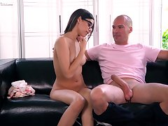 Fresh faced babe fucks an older panhandler of her dreams together with she loves his big cock