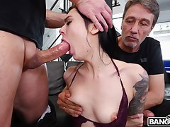 Tattooed chick Marley Brinx gets spit-roast with an increment of double penetration