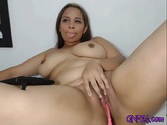 Busty latina dildoes her wet vagina on webcam live