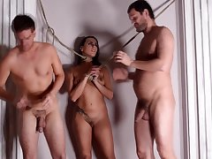 Dirty slut Mia Melone tied up and fucked less all holes by 2 guys