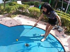 Amateur Thai teen really bad within reach minigolf