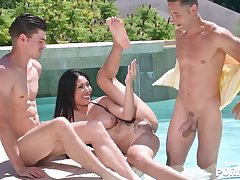 Asian hardcore nabob Polly Pons double penetrated in her tight-fisted horny holes GP1449