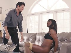 Skinny ebony drives stepdad risible with how tight-fisted she is
