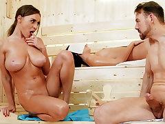 Big-Boobed damsel there sauna taunts space fully wifey sleep