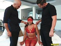 Blindfolded Latina whore Samantha Garmendia double penetrated