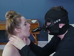 Coxcomb approximately strapon mask makes submissive whore suck his cock plus feet