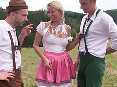 Busty country girl Nikky Dream sprayed with cum by two men outdoors