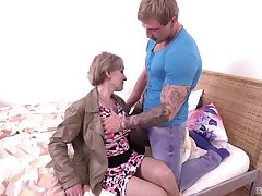 Mature blonde unexpected haired granny Mili swallows cum after riding