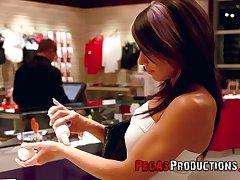 Professional hooker Samantha Ardente picks one handsome guy in sex shop