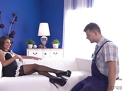 A hot Mistress in a French maid outfit has recreation with her slave.