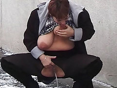 bbw milf peeing in public