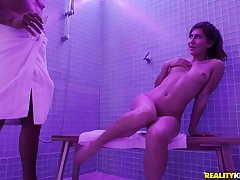 During the shower Paige Owens gets the brush pusst banged by the brush lover