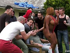 A guy's bachelor party leads nearly gangbang sex and the bitch is so curvy