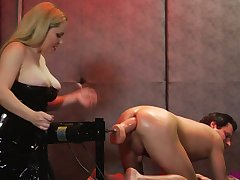 Wicked dominatrix with huge titties dominates a deviating couple