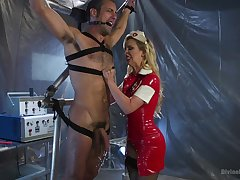 Latex nurse in stockings Cherie Deville abuses their way example on along to desk