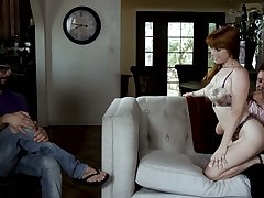 Cuckold hubby watches make an issue of way redhead Penny Pax fucks doggy before his eyes