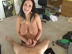 Sexy breasty experienced female Bella Blaze making guy happy by giving an amazing handjob