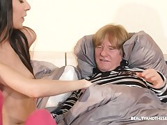 Old fuck gets to know some fresh pussy and he's such a pervert