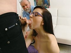 Nerdy brunette Alla loses her virginity involving turn of duo kinky old doctor