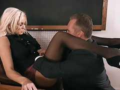 Strict anticipating busty blonde principal Kenzie Taylor lures dude to fuck mad