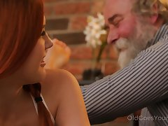 Talkative and cheeky Czech nympho Charli Red lures older man for sinful fuck