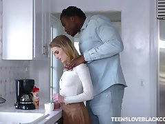 Colourless teen Natalie Manly is craving for a huge black phallus of her stepdad