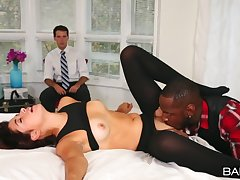 Cuckold husband films his wife Izzy Bell riding a black bushwa