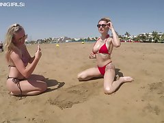 Sexy unquestionable bikini gal Sam together with her friends having moxie fun on the seashore