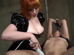 Hot mistress uses her titties to get yourselves slaves and she loves electro posture