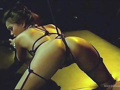 Dominant lesbian in latex adores spanking and BDSM sex jollity