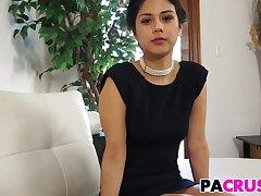 Beauty brunette veld dress suck